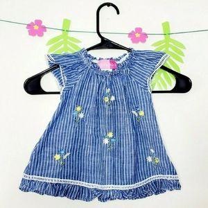 Goodlad Striped Flower Linen Dress